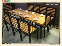 Bộ bàn ghế chân sắt gỗ thông pallet S2