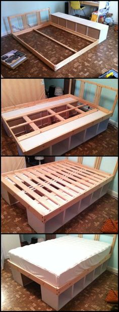 Using bookcases as a bed frame is one easy way to build a bed with storage.  It's also space-saving, cheaper than a typical bed with storage and easier to disassemble and transport!  Learn more about this DIY project on our site at  http://diyprojects.ideas2live4.com/2016/02/04/build-an-inexpensive-bed-from-bookcases/ #BedFrames