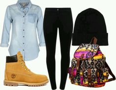 Timberland boots outfit. I like the style of the backpack, but maybe replace it with a leather black backpack.
