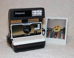 Bright Orange and Brushed Silver Front Upcycled Polaroid 600