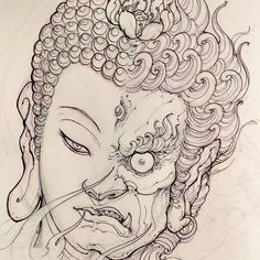 Tattoo sketches 451134087664893618 - Buddha Fudo sketch for Filler. Source by babycart Buddha Tattoos, Buddha Tattoo Design, Irezumi Tattoos, Maori Tattoos, Japanese Tattoo Art, Japanese Art, Japanese Sleeve, Mascara Samurai Tattoo, Tattoo Sketches