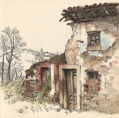 Life skit in Guardo, Palencia. Watercolor and ink Watercolor Painting Techniques, Pen And Watercolor, Sketch Painting, Watercolor Landscape, Watercolor Paintings, Watercolours, Watercolor Architecture, Architecture Art, Art Sketches