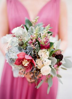 Berry, magenta and thistle wedding bouquet: http://www.stylemepretty.com/florida-weddings/2017/03/17/berry-blue-winter-wedding/ Photography: Emily Katharine - http://www.emilykatharine.com/