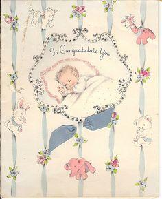 Vintage baby congratulations card