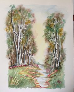 Silver birch trees in water colour