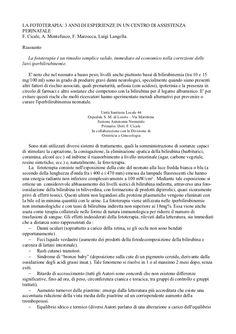 La ricerca da parte del ginecologo Luigi Langella sulla fototerapia neonatale.