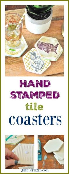 hand stamped tile coasters info