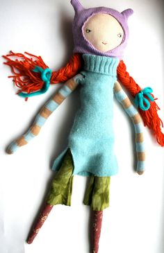 orange hair rag doll cloth doll handmade waldorf inspired woolen hair patchwork cat hat