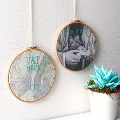 Embroidered map - second anniversary gift ideas