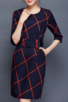 Shop kenviky purplish blue plaid sheath dress here, find your knee length dresses at dezzal, huge selection and best quality. Dress P, Sheath Dress, Bodycon Dress, Smart Outfit, Bow Back, Knee Length Dresses, Blue Plaid, Dresses Online, Dresses For Work