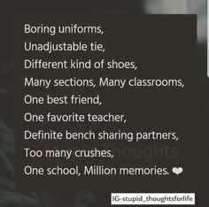 "Top 25 Missing Memorable Quotes ""Missing someone and not being able to see them is the inferior feeling ever"" Check out these ""Top 25 Missing Memorable Quotes"". Best Friendship Quotes, Best Friend Quotes, Besties Quotes, True Quotes, Funny Quotes, School Life Quotes, Missing School Days Quotes, Missing Quotes, Farewell Quotes"