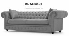 Branagh 3 Seater Chesterfield Sofa in pearl grey is an updated take on traditional Chesterfield design.