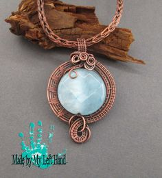 Copper pendant Jade coin wire wrapped pendant by MadeByMyLeftHand