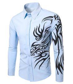 Fashion Turn Down Collar Dragon Printed Long Sleeves Shirt For Men