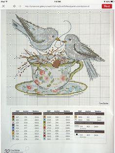 Crossstitch: Blue birds on cup