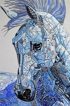 Abstract Horse 10 (Sculptural) by Paula Horsley Horse Quilt, Horse Artwork, Blue Horse, Horse Drawings, Horse Sculpture, Equine Art, Zebras, Fabric Art, Mosaic Art