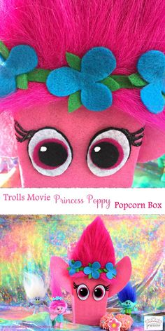 Are you ready to sing and dance and hug? Join us at our be bringing my Trolls Movie Princess Poppy Popcorn Box! Puppy Valentines, Unicorn Valentine, Valentines Day Party, Unique Valentine Box Ideas, Valentine Boxes For School, Trolls Birthday Party, Troll Party, Birthday Ideas, Birthday Parties