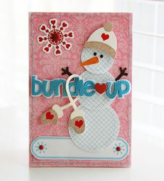 cute snowman christmas card, mittens, graph paper