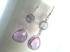 Summer Romance Lavendar silver Earrings - bridesmaid gifts,Wedding jewelry,flower girl,anniversary gift. $26.00, via Etsy.