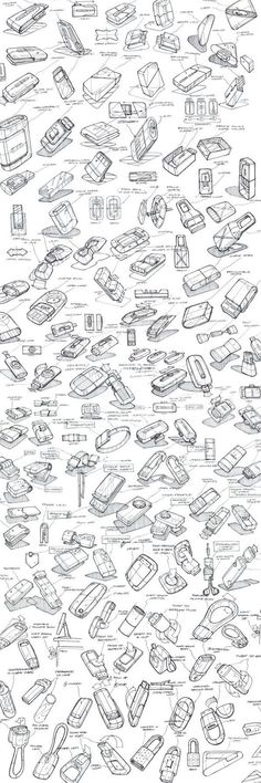 So critical to go through the ideation process with an exhaustive range of sketches. Product Sketching & Ideation by Mason Umholtz, via Behance Cool Sketches, Drawing Sketches, Pen Drawings, Manga Drawing, Drawing Ideas, Sketch Inspiration, Design Inspiration, Logos Retro, Vintage Logos