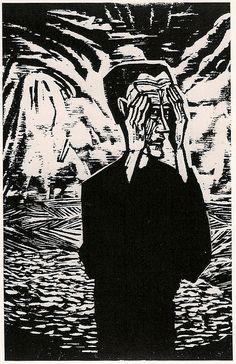 Erich Heckel, Man on a Plain, 1917. Ik vind het een grappige lino door de man die is afgebeeld. Het is een licht- donker contrast. Er is geen kleur gebruikt.