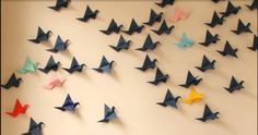 Origami cranes on a wall Origami Cranes, Hallways, Kids Room, Craft Ideas, Wall, Crafts, Foyers, Room Kids, Manualidades