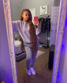 Baddie Outfits Casual, Cute Comfy Outfits, Chill Outfits, Dope Outfits, Swag Outfits, Trendy Outfits, Fashion Outfits, Black Girl Braided Hairstyles, Faux Locs Hairstyles