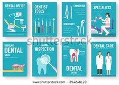 Dental office interior illustration background. Dental icons. Dental posters. Dental banners. Dental flyer. Flat Dental elements with typography. Dental invitation design. Dental cards. Dental mock up - stock vector