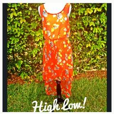Orange Flower High-Low Dress Size large, re-poshing because it was a bit too big for me up top :( NWOT Dresses High Low