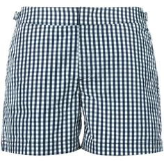 Orlebar Brown gingham check swim shorts (250 CAD) ❤ liked on Polyvore featuring men's fashion, men's clothing, men's swimwear and blue