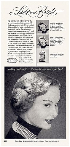 Richard Hudnut Shampoo ad, 1953 (am I the only one picking up a Star Wars vibe here - albeit 24 years before the movie debuted). #vintage #1950s #hair #ads