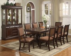 Dining Room Glass Window White Curtain Cherry Dining Set Fruit Plate Orange Flower Vase White Lily Crystal Glass Cream Pattern Carpet Curio Cabinet Ceramic Bowl Chest Green Plant Black Frame Painting Must-Have Dining Room Equipment
