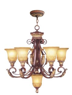 Livex Lighting Villa Verona Verona Bronze with Aged Gold Leaf Accents Chandelier 8555-63
