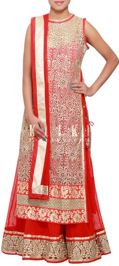 Buy Online from the link below. We ship worldwide (Free Shipping over US$100) http://www.kalkifashion.com/red-and-beige-anarkali-suit-adorn-in-zari-embroidery-only-on-kalki.html