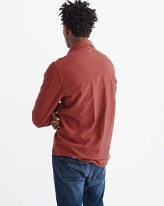 A&F Men's Chamois Woven Shirt in Brown - Size S