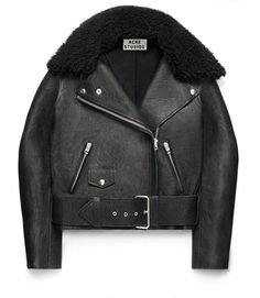 Acne Studios Mape Paw Leather and Shearling Jacket Casual Outfits, Fashion Outfits, Womens Fashion, Fashion Trends, Fashion Weeks, London Fashion, Acne Leather Jacket, Shearling Jacket, Leather Jackets