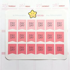 Planner Stickers Stickers Erin Condren Planner Stickers Kawaii Cute Pay Day Flag Stickers