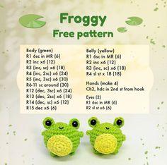 Crochet Kawaii, Crochet Frog, Crochet Animal Amigurumi, Crochet Diy, Crochet Amigurumi Free Patterns, Crochet Animal Patterns, Crochet Crafts, Crochet Dolls, Crochet Projects