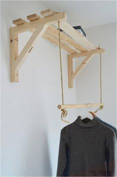 Handmade, Natural Wood, Clothes Rack, Clothes Rail with 3 Shelves - Simply elegant pair of shelf supports for each purpose Shelf support: Dimensions: wood x cm - Clothes Rail, Clothes Storage, Hanging Clothes Racks, Clothes Shelves, Shelf Brackets, New Room, Diy Furniture, Ratan Furniture, Furniture Vintage