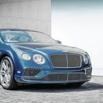 Luxury blue Bentley car parked on a gray street – Collection of the best things