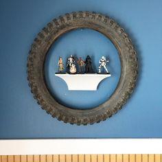 tire framed star wars and shelf