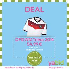 !!! Original #adidas DFB Trikot 54,99 € !!! Kurz vor der #WM haben wir einen streng limitierten #Deal für euch: Holt euch das original #WM #Trikot des DFB-Teams für nur !! 54,99 € !! bei Yabid solange der Vorrat reicht! Den Deal findet Ihr unter: http://deal.yabid.net Wollt Ihr mehr dieser Deals? Dann folgt einfach unserem Profil!