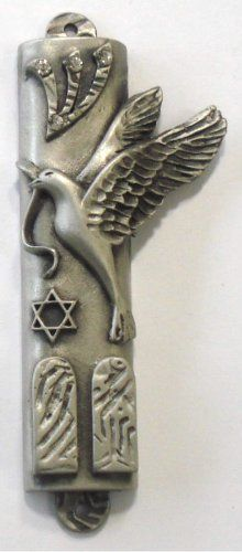 Pewter Mezuzah with Kosher Mezuzah Scroll  Pewter Peace Dove with Swarovski Crystal ** More home décor info could be found at the image url.