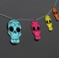 Printable Sugar Skull Garland- DIY decor. $3.00, via Etsy.