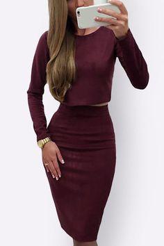Burgundy Casual Round Neck Plain color Suits & Co-ords - US$19.95 -YOINS