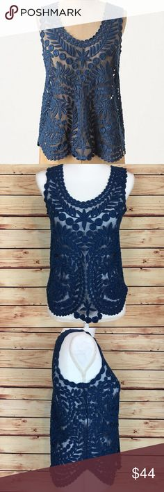 Anthropologie Gossamer Birch Tank Top Embroidered Anthropologie Yoana Baraschi blue Gossamer Birch Shell tank top. Lace. Sheer mesh with embroidery. Leaf design. Scoop neck. Size small. 100% nylon. Excellent preowned condition with no flaws. Color best represented by the stock photo (first photo). Anthropologie Tops Tank Tops