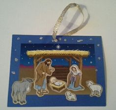 Christmas craft idea using nativity stickers.