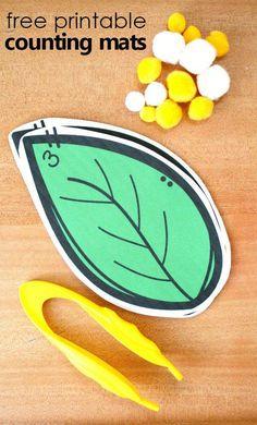 Free printable caterpillar egg counting mats for your preschool butterfly theme #preschool #math #kindergarten #freebie #freeprintable #butterfly #catterpillar #springactivities