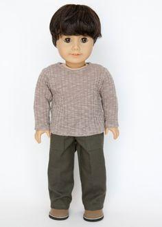 American Boy doll pants - green/grey by EverydayDollwear on Etsy