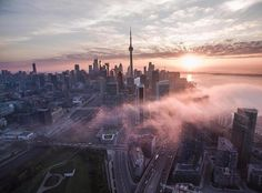 Photo of the Day featuring a sunrise over downtown Toronto, captured from high above the Fort York neighbourhood. Foggy Morning, Downtown Toronto, Sunset Photos, Cn Tower, Cool Photos, Amazing Photos, New York Skyline, The Neighbourhood, Sunrise